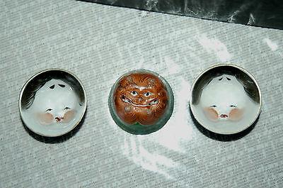 3 Rare Asian God Faces Porcelain Tea Bag Holder Bowls-2 Sided-Man & Beast MINT