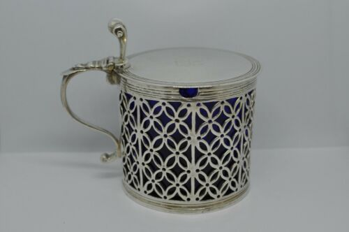 Rare Antique 1768 Samuel Herbert & Co Sterling MUSTARD POT Glass Insert, London