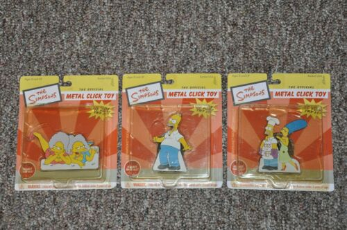"The SIMPSONS - ROCKET USA ""METAL CLICK TOY"" LOT of 3 UNOPENED - DATED=2002"
