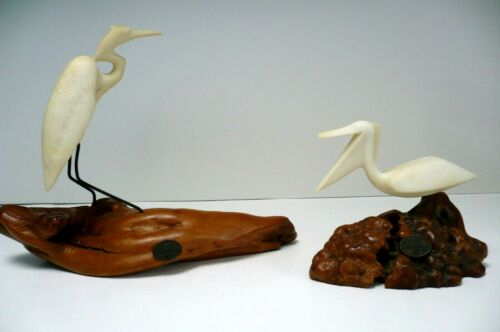 John Perry Bird Sculptures on Burl Wood Large Heron Crane and Pelican Stork