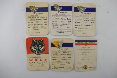 LOT of Vintage 1960s Boy Cub Scout Ephemera CARDS, Arrow Point, LUBBOCK TX TEXAS