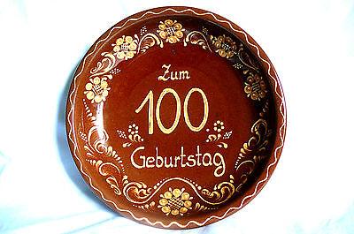 Wandteller 100. Geburtstag Schöffel Keramik Alfdorf Obstschale Gebäckschale