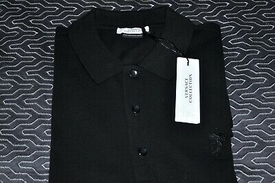 "VERSACE ""Collection"" Polo Style Mens Shirt, Size: Large, Black; MSRP: $185.22"