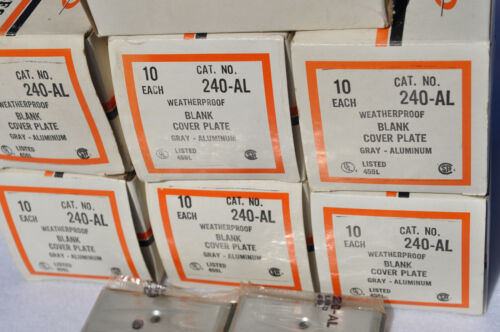 Box of 10--Bell Electric (Square D) 240-AL-Aluminum Blank Cover Plate Sgl. Gang