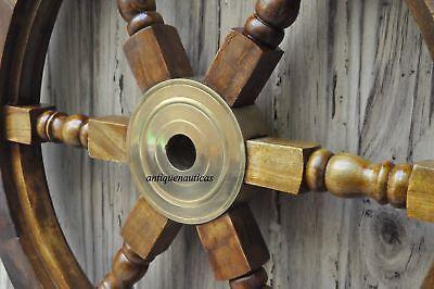 "18""Nautical Wooden Ship Steering Wheel Pirate Decor Wood Brass Fishing Wall Boat"