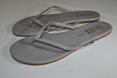 TKEES Liners Flip Flop Sandals Grey Leather Beach Party 40 Women 9