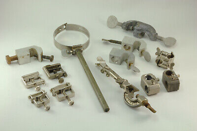 13 Various Lab Accessories - Hose Clamps Rod Connectors Thermometer Holder