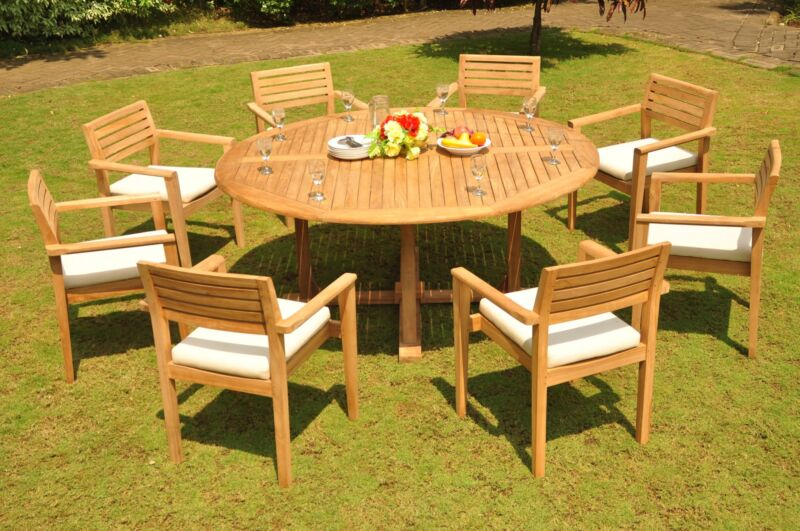 "9 PC DINING TEAK SET GARDEN OUTDOOR PATIO: 72"" ROUND TBL, 8 MONT STACKING CHAIRS"