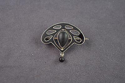 antike Jugendstilbrosche Silber 800 schwarz emailliert. Jugendstil um 1900
