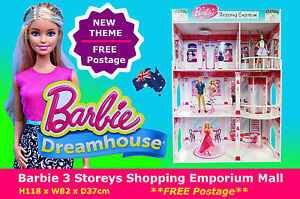 NEW BARBIE 3 Storey Dream House 118cm High Shopping Mall Dollhouse Toy FREE POST