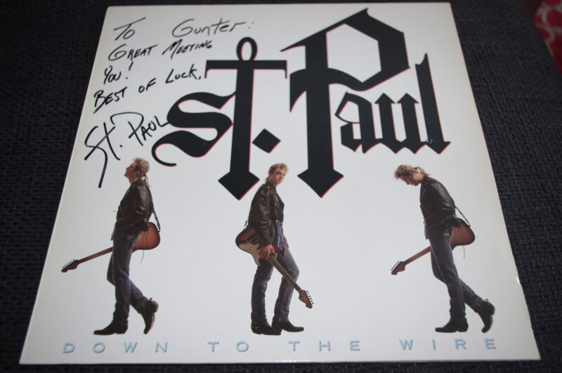 "ST. PAUL PETERSON signed Autogramm ""DOWN TO THE WIRE"" Platte LP InPerson PRINCE"