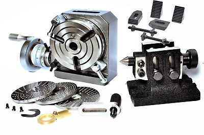 Rotary Table Hv4 3 Slots With Tailstock Dividing Plates Set M8 Clamping Kit