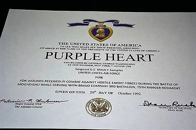 Purple Heart Medal Replacement Certificate