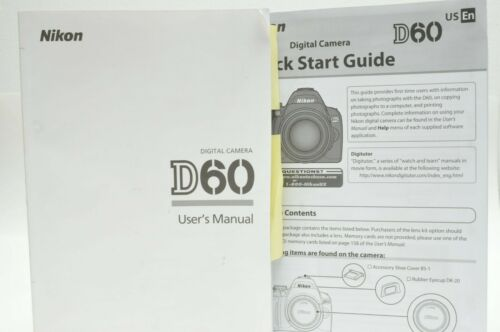 Nikon D60 Instruction Owners Manual with Quick Start Guide