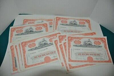 100 Canceled Lionel Corporation Stock Certificates - 100 Share Lots- Train