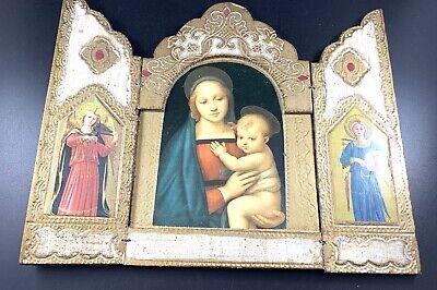 Vintage Italy Italian Florentine Religious Tryptych Alter Icon Madonna Child