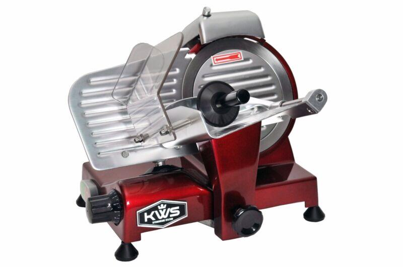 "KWS Premium Commercial 200W Electric Meat Slicer 6"" Frozen meat Deli slicer Red"