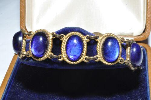 BEAUTIFUL VINTAGE ART DECO BRIGHT BLUE GLASS BRACELET