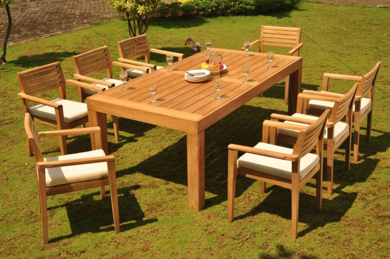 "9-piece Outdoor Teak Dining Set: 86"" Rectangle Table, 8 Stacking Arm Chairs Mont"