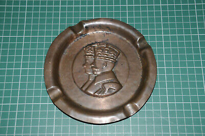 Antique Copper Ash Tray King - George V - Vintage Tobacciana Smoking Royalty