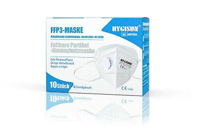 Hygisun FFP3 Atemschutzmaske mit Ventil und DEKRA 10 Packung