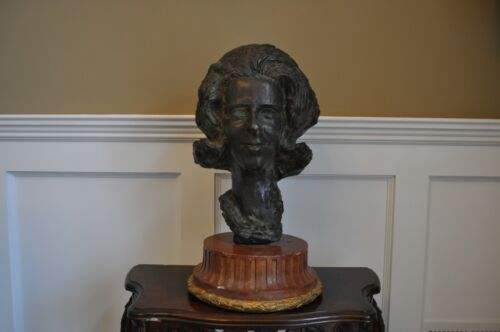 Antique Vintage Large Heavy Bronze Lady Bust Statue, 67 Pounds with Marble Base