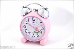 Pink Bear Been Buzz Twin Bell Clock Children Easy to Read