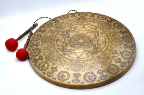 22 inches Diameter Tibetan Gong from Nepal-Temple gong-Mantra carved-Healing