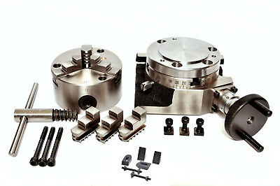 Rotary Table 4100mm 4 Slot With 80 Mm 3 Jaw Chuck M6 Clamping Kit Set