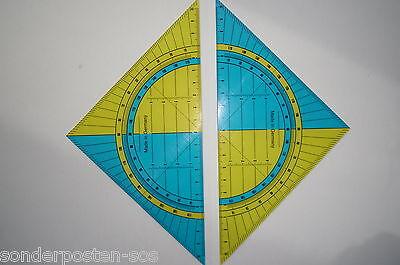 2x Geodreieck Groß Lineal Scala 20cm Kunststoff flexibel gelb blau transparent