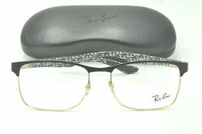 Ray Ban RB 8416 Eyeglasses 3014 Carbon Fiber Black Gold Frame 55mm + (Gold Frame Ray Ban Eyeglasses)