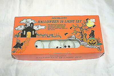 NEW RARE Vintage Halloween String of SKULLS Blow Mold 10 Light Set