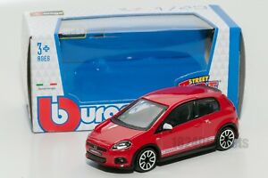 Fiat Abarth Grande Punto red, Bburago 18-30198, scale 1:43, toy car model