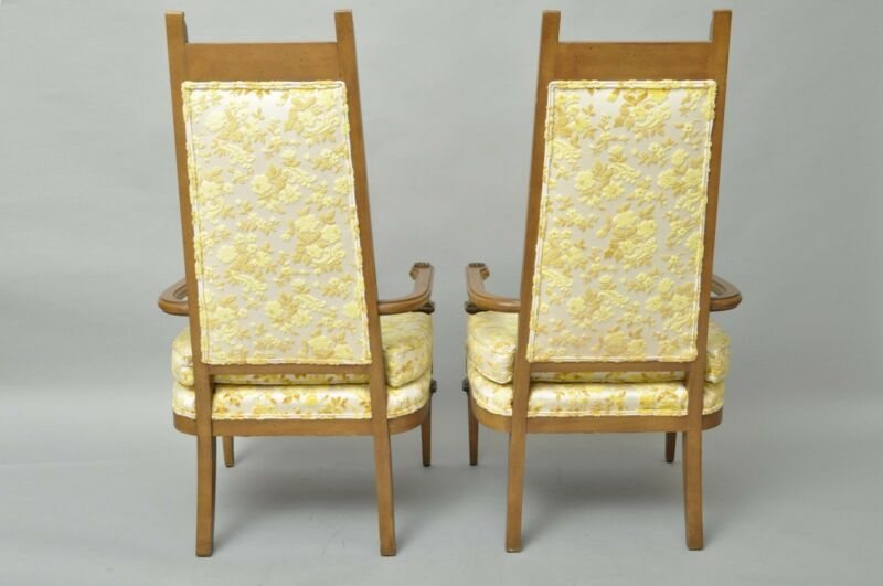 Pair Vtg French Hollywood Regency Italian High Back Gold Fireside Lounge Chairs