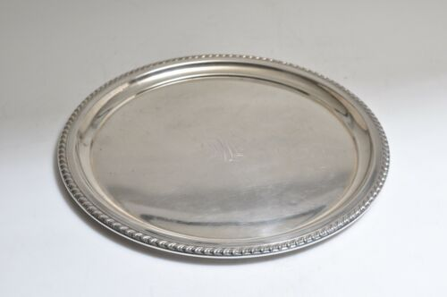 "Wallace Sterling Silver Round Serving Tray #6611, 12"" Dia./ Mono/545 gr."