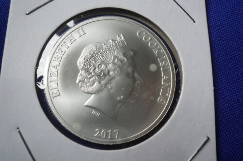 Rare! 2017 1 oz Cook Islands Silver Bounty Coin Version 1 Unc with light spots