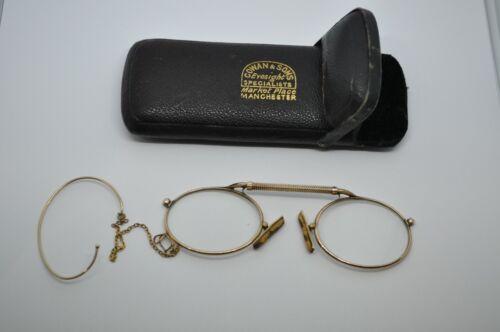 Rare ANTIQUE 9K GOLD READING GLASSES w/ Case