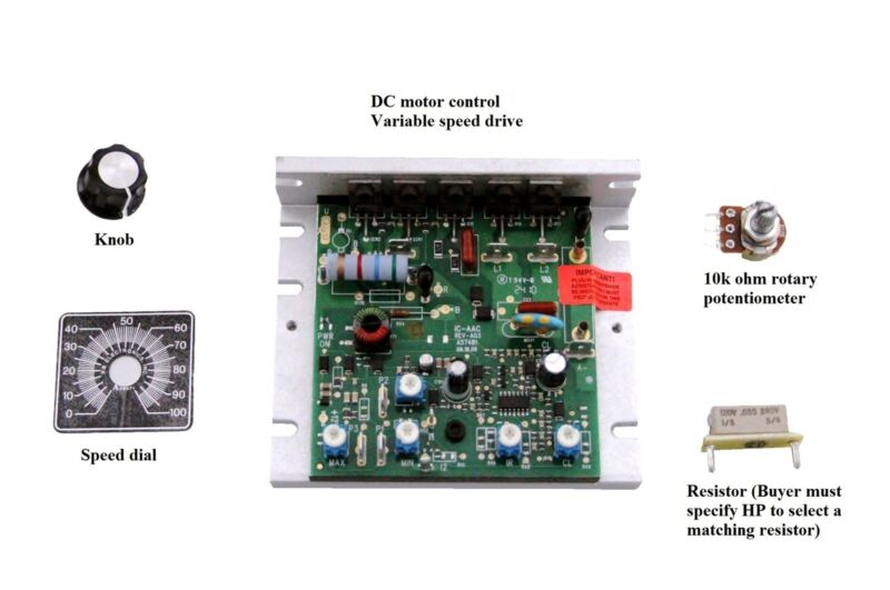 DC Motor Control, Dual volt 90/180VDC, up to 1HP (2HP), all hardware included