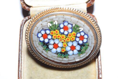 WONDERFUL VINTAGE MICRO MOSAIC FLOWER BROOCH