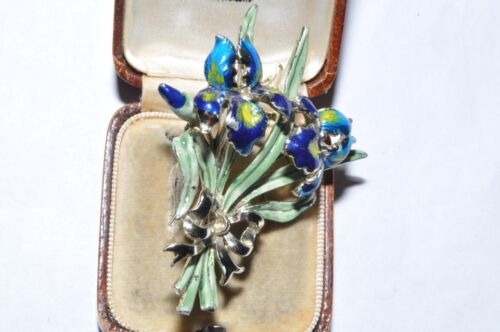 CHARMING VINTAGE ENAMEL SIGNED EXQUISITE IRIS BIRTHDAY SERIES BROOCH
