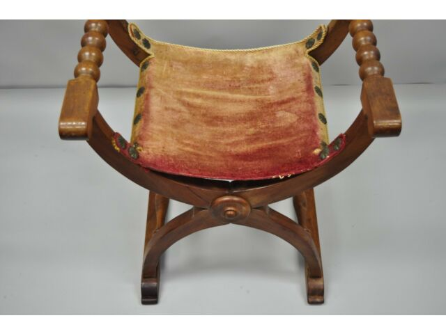 Antique Italian Renaissance Curule Savonarola Throne Chair Figural Armchair B