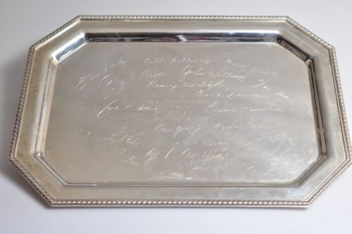 """Vintage Personalized C.P.A.I. FINA 15"""" Sterling Silver Serving Tray 1060gr"""