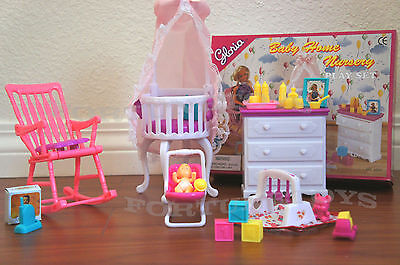 GLORIA DOLL HOUSE FURNITURE Baby Home Nursery Canopy Crib PLAYSET FOR BARBIE