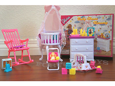 GLORIA DOLL HOUSE FURNITURE Baby Home Nursery Canopy Crib PLAY SET FOR Dolls