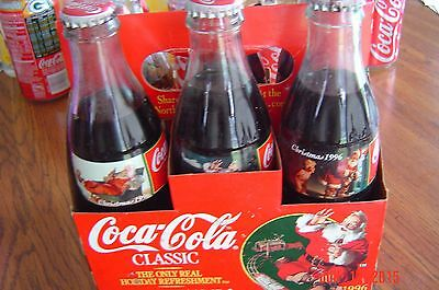 Coca Cola Christmas 1996 Six Pack of Bottles