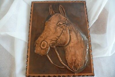 Very Beautiful Horse Picture Made from Embossed Copper on Wooden Plate!
