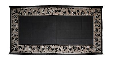 Patio Mat  RV Beach Camping Outdoor Mat Palm Tree 9' x 18' Black/Beige 209181