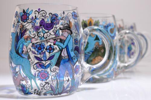 REIN ZINN? Vintage Hand Painted Glass German Beer Stein Mug Set 4