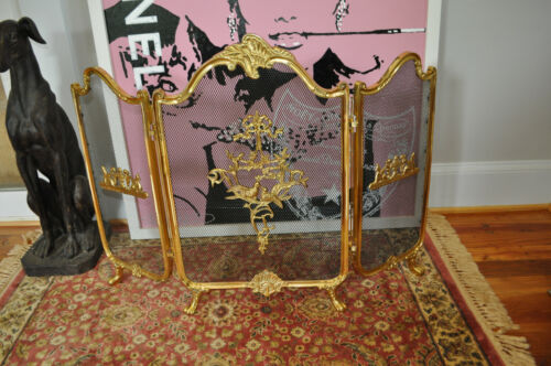 Vintage Ornate Brass Claw Foot Fireplace Screen French Provincial Victorian