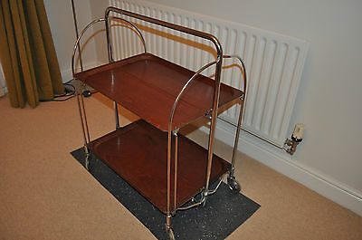 ART DECO DRINKS TROLLEY Chrome/Walnut Laminate Ingenious German Folding Design!